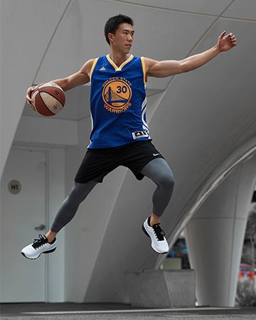Andrew slamdunking basketball