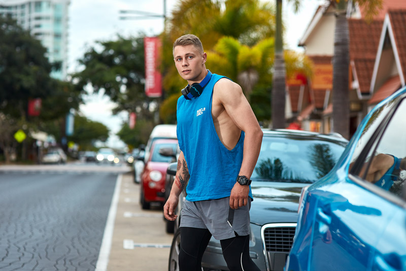 Angus Gold Coast fitness model Crossing Road in Main beach