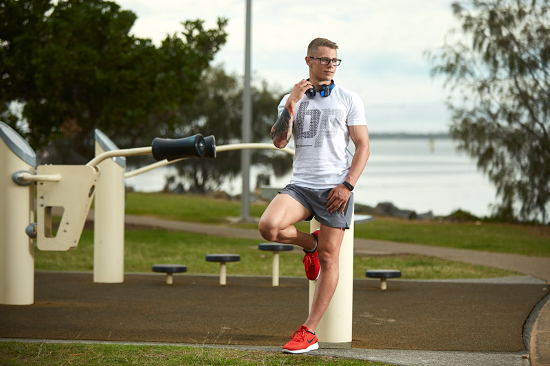 Angus Queensland's fitness model in a park