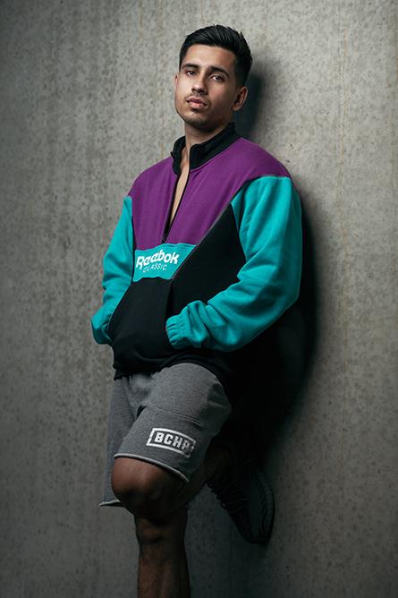 Ben P wearing colourful Reebok Hoody
