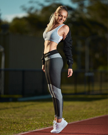 Centelle showing her serious side during her Queensland fitness shoot