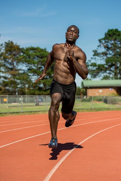 Damian cornering during his 400 meter sprint