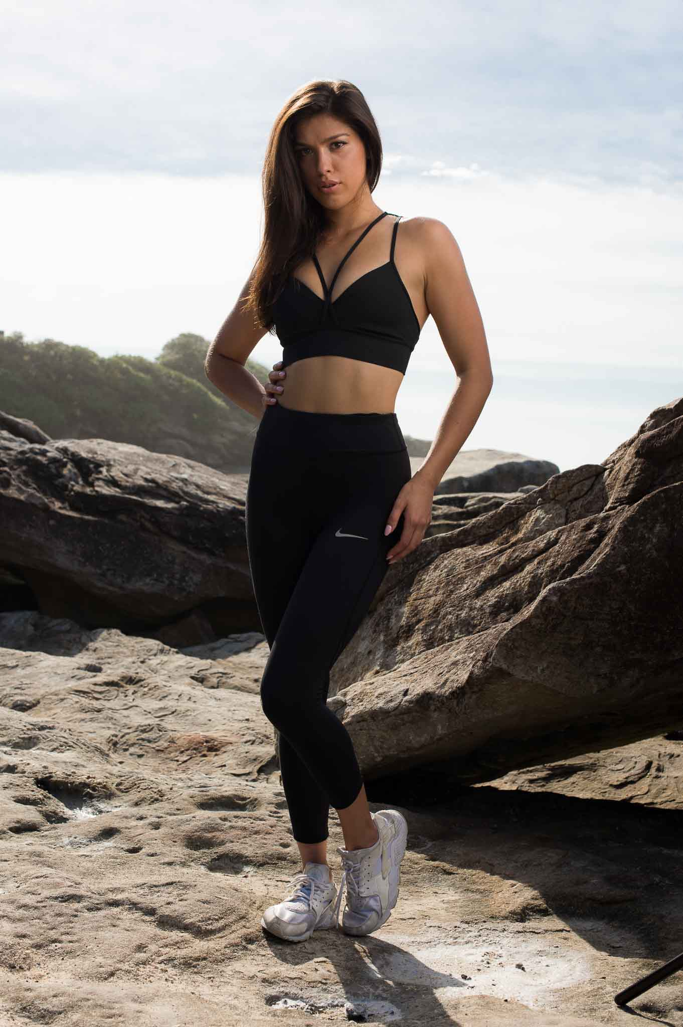 Edina at Sidneys Bronti beach during her fitness shoot