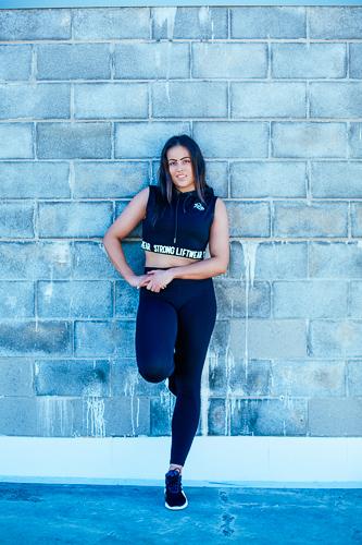Heidi shooting fitness garments for strong liftwear brand