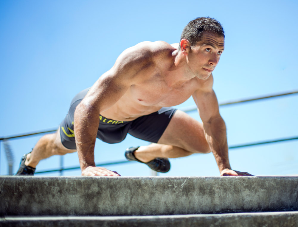 Hurry doing a dynamic push-up