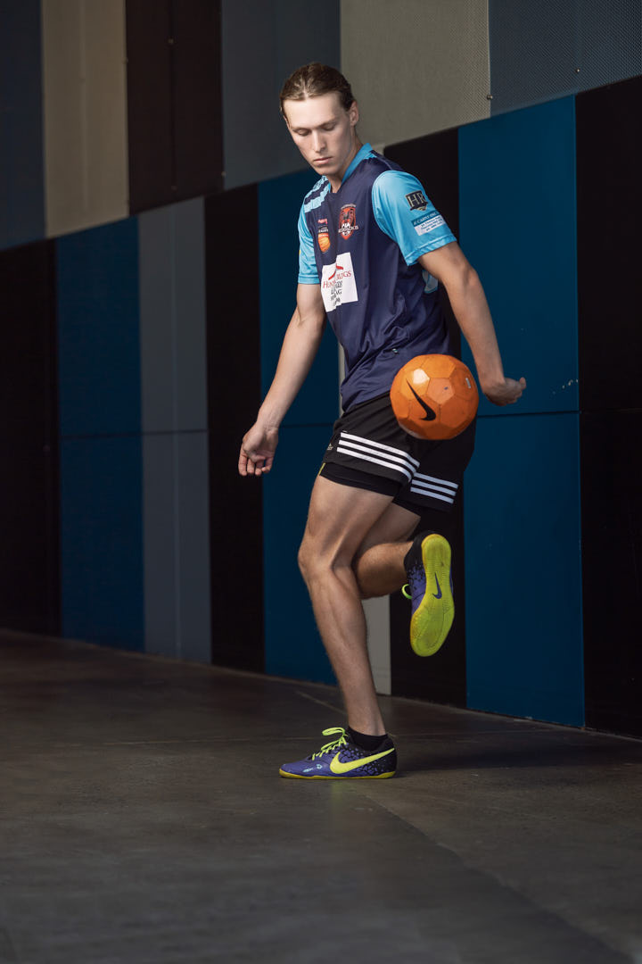 Jacob showing his soccer skills during fitness photo shoot