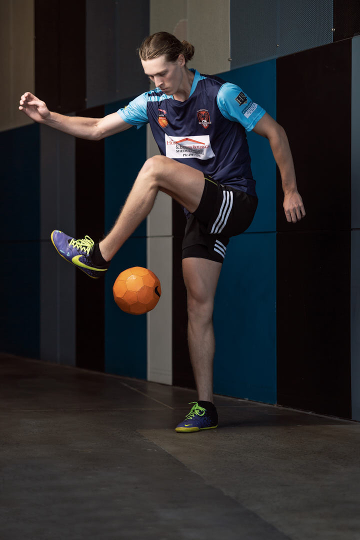Jacob showing soccer skills during Sydney fitness shoot