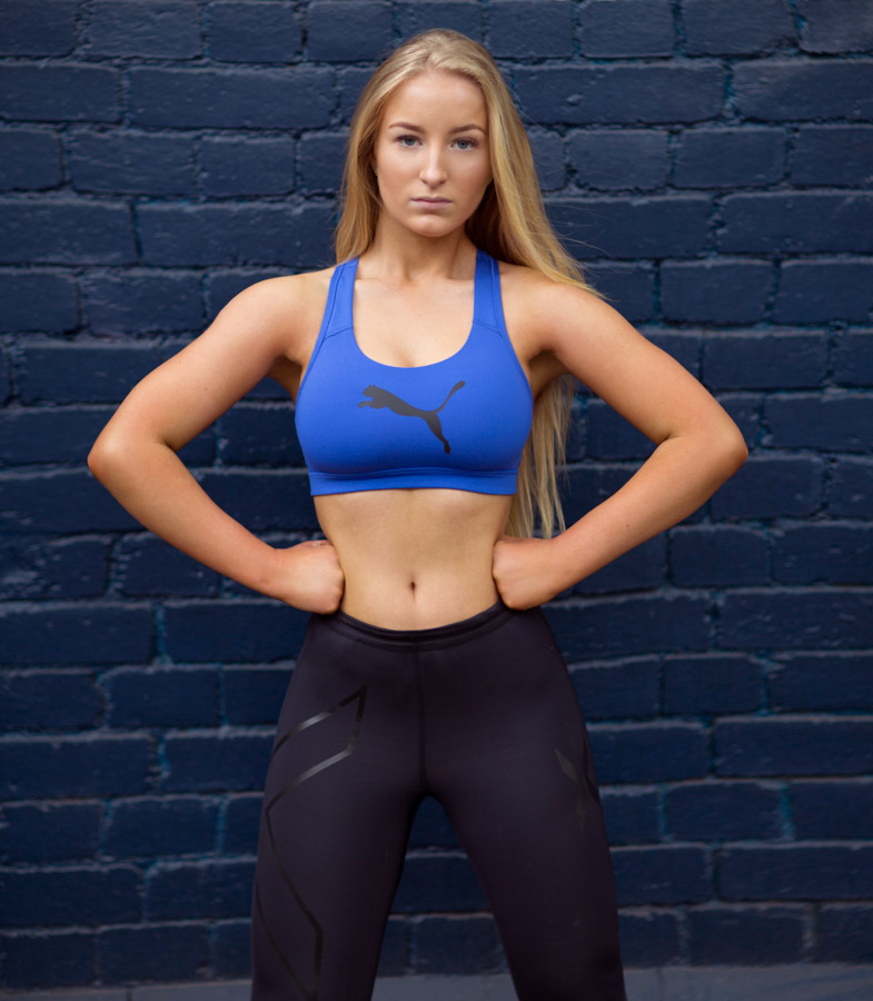 Jaiyme Melbourne_s female fitness models wearing a puma crop top