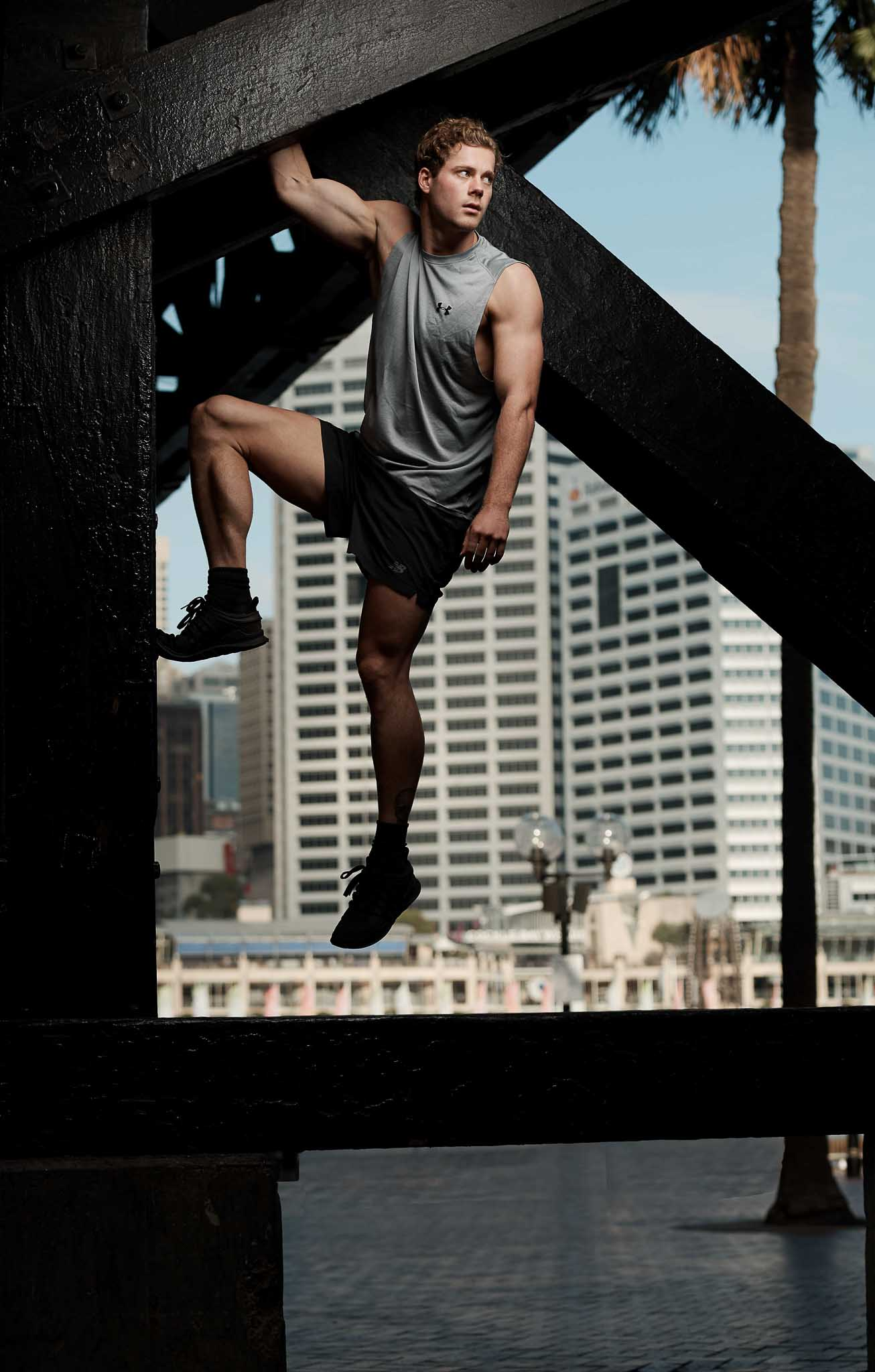 James shooting during his fitness portfolio at Sydney Harbour Bridge