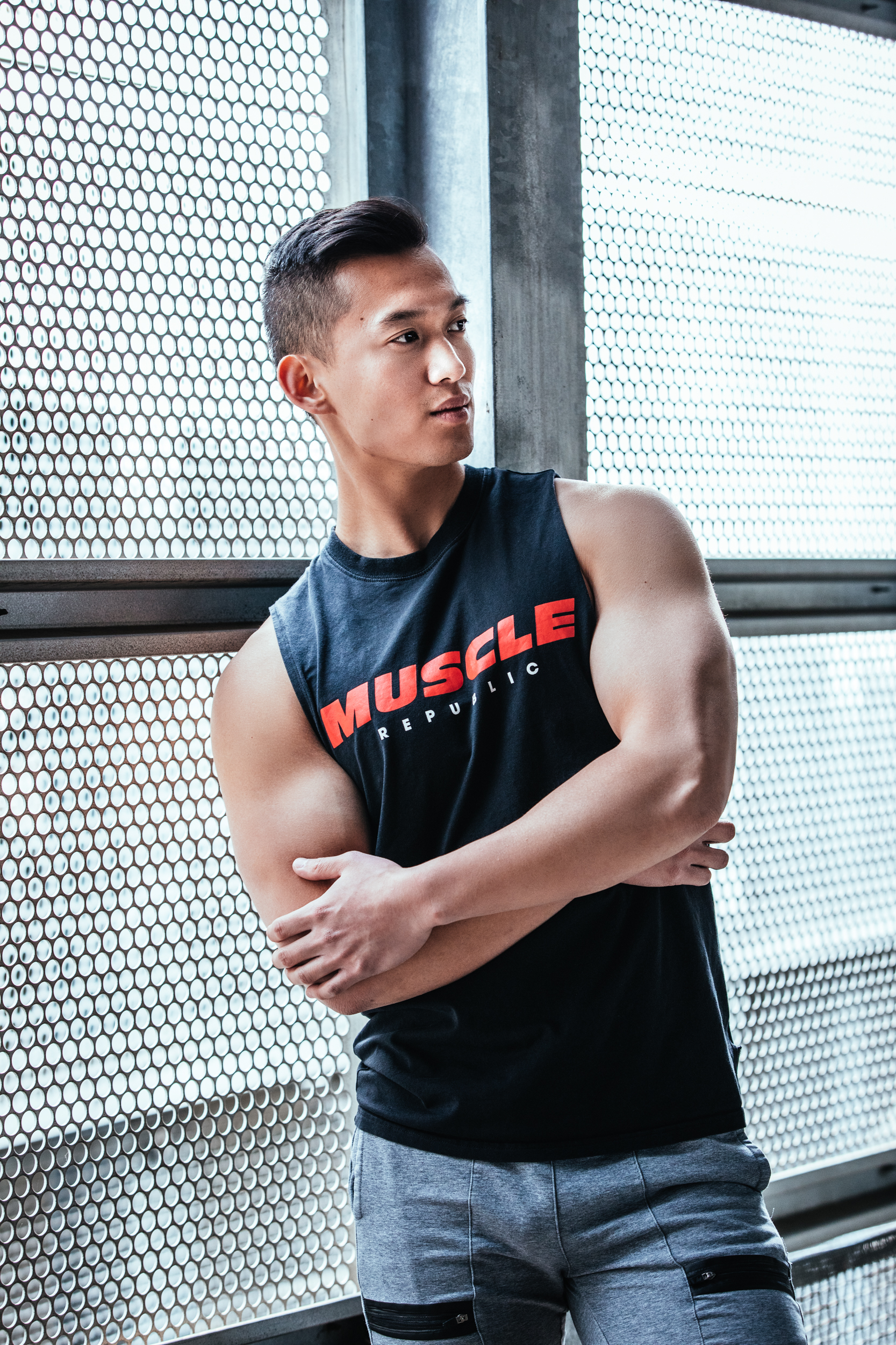 Joho Melbourne Asian fitness model wearing muscle republic garments