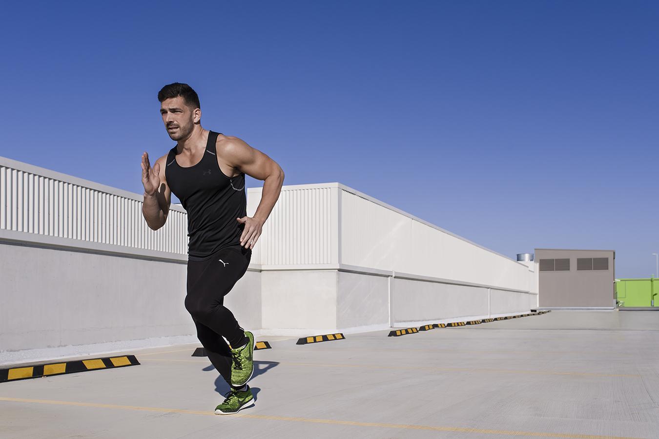 Jon sprinting on Gold Coast open roof car park