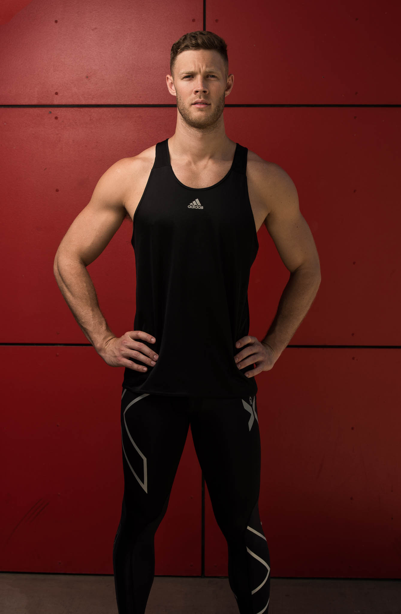 Josh Brisbane's latest fitness model wearing 2XU compression way