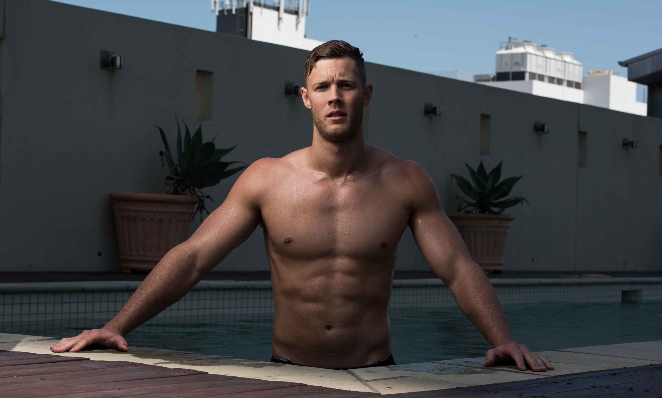 Josh Brisbane model in swimming pool