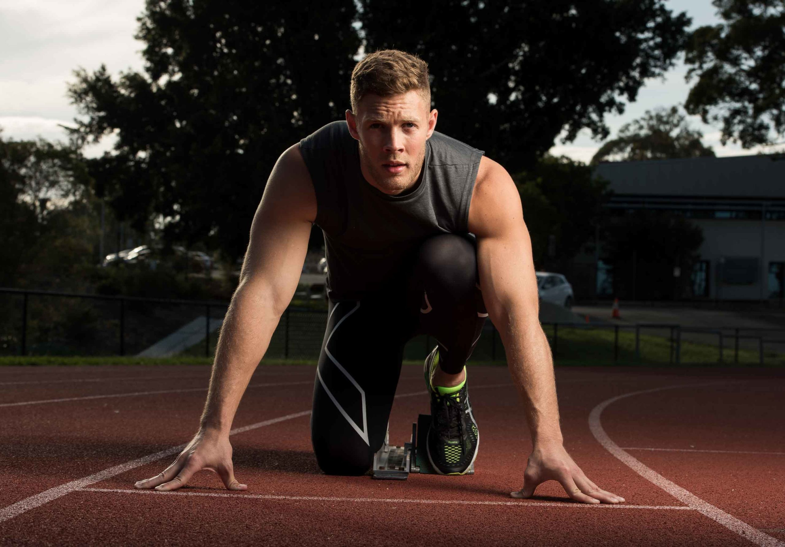 Josh in starting blocks