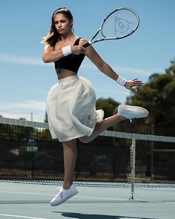 Karina performing a forehand shot