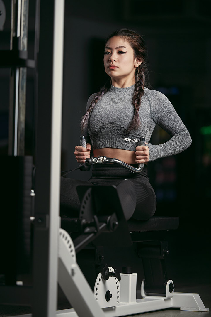 Kaylyn Performing a seated cable row