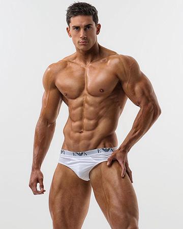 Martin posing in white designer underwear