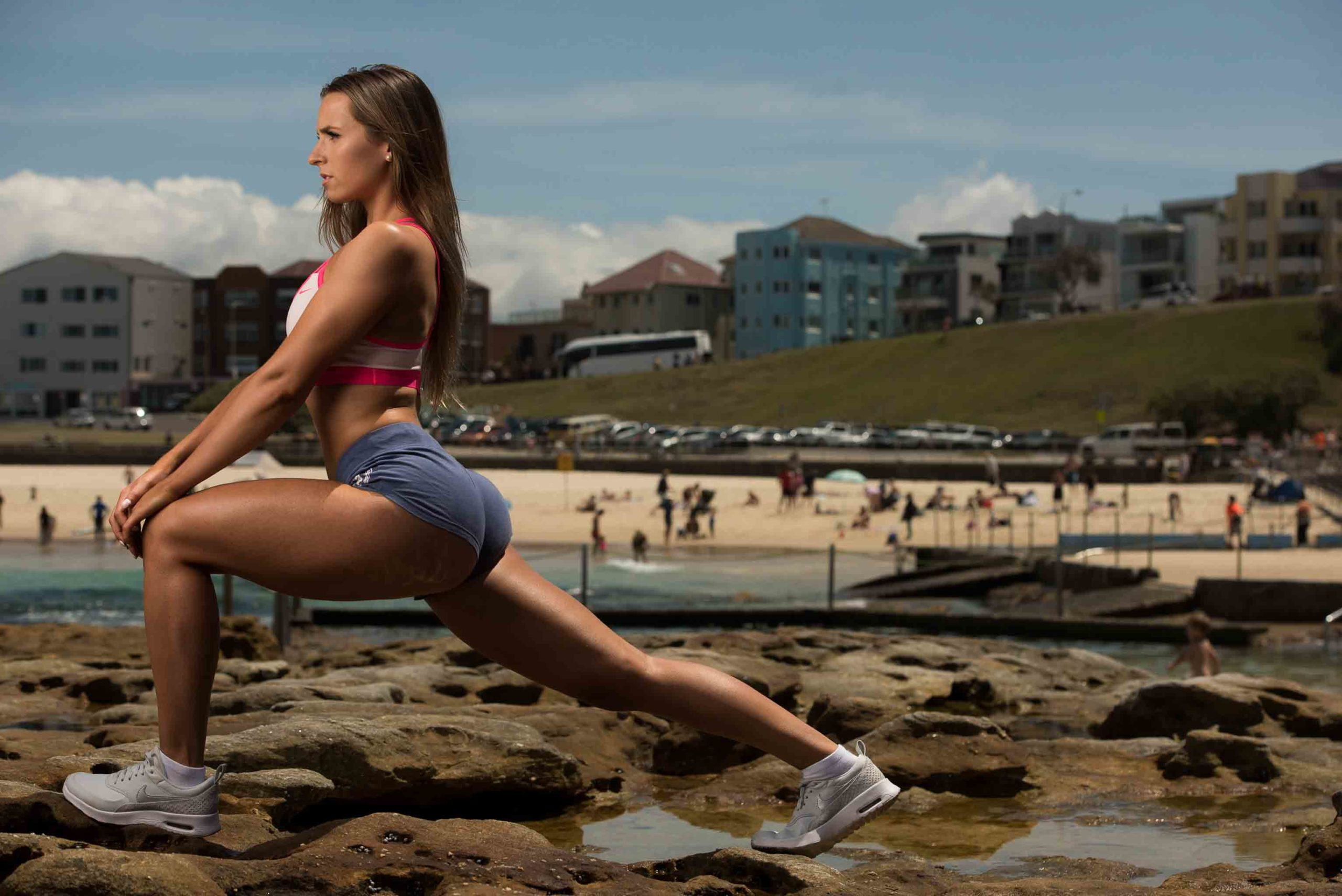 Maya Stretching at Bondi Beach
