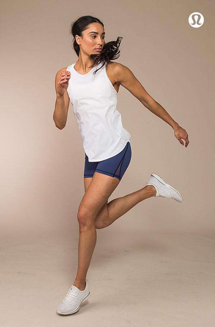 Montana jumping, looking over her left shoulder during her Lululemon campaign shoot