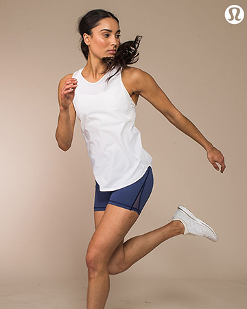 Montana jumping wearing lululemon clothing during photo shoot campaign