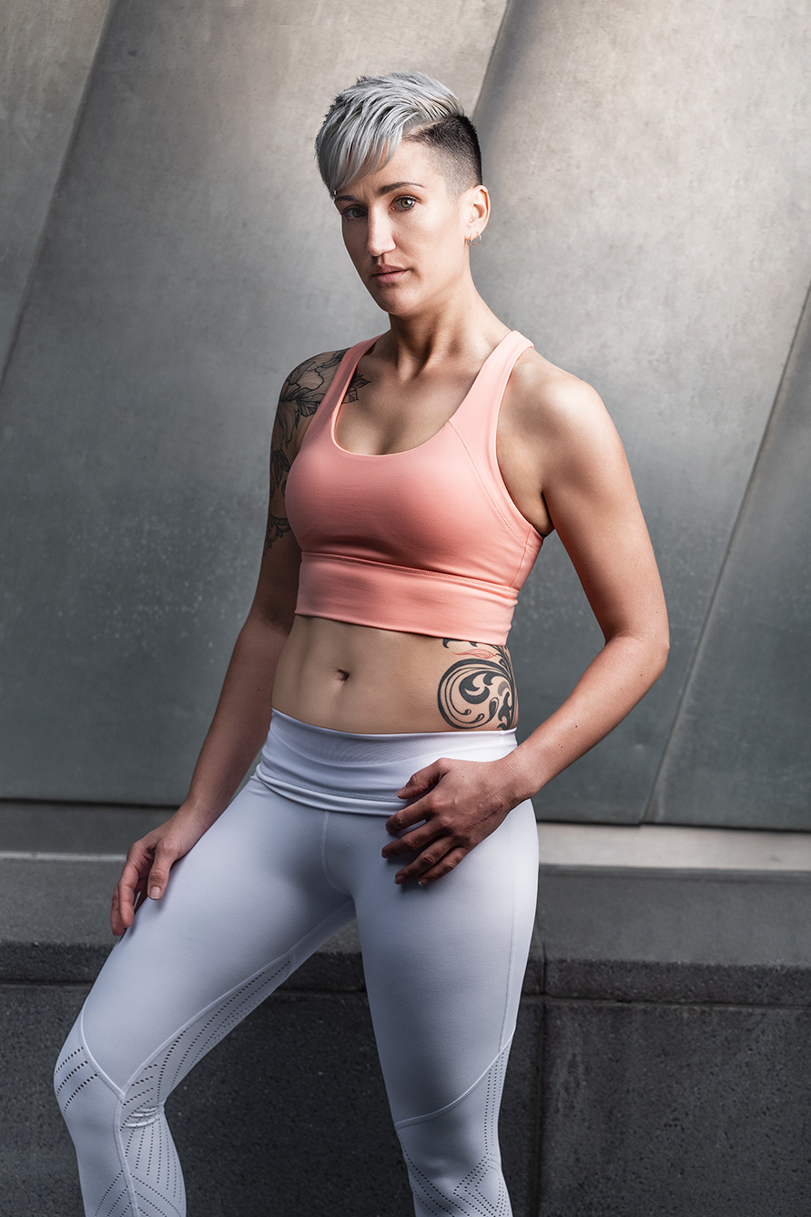 Natalie E shooting her fitness portfolio in the grounds of Melbourne's Federation Square