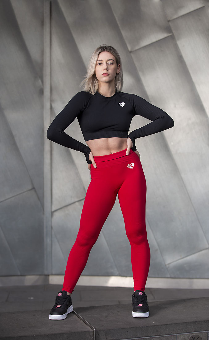 Natalie during her fitness sport shoot at Melbourne's Federation Square