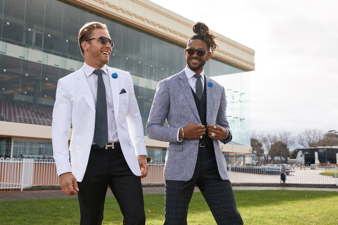 Nic along with another male model during their Melbourne race carnival campaign shoot