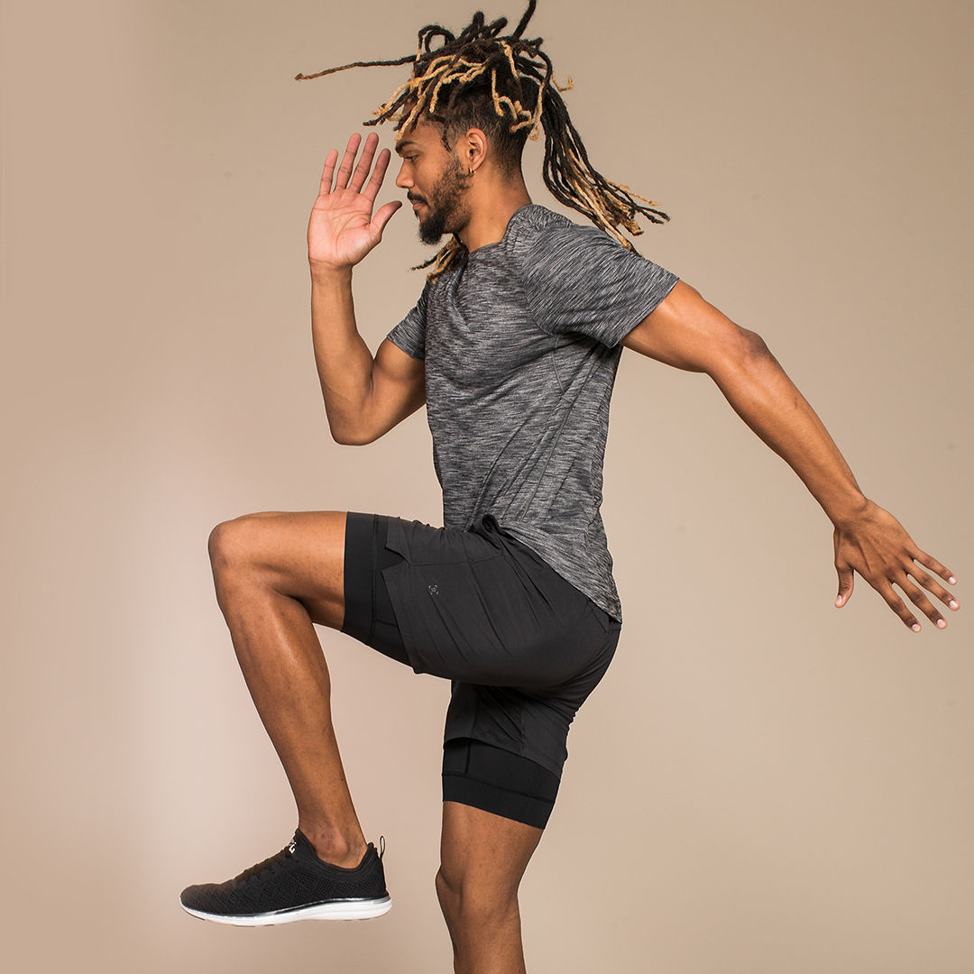 Nic in studio jumping shot during Lululemon's latest campaign