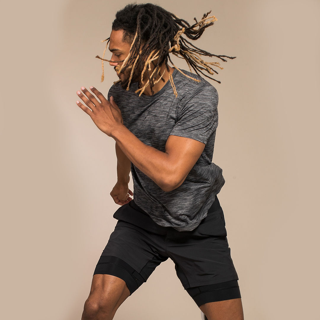 Nick sidestepping during a Lululemon studio campaign