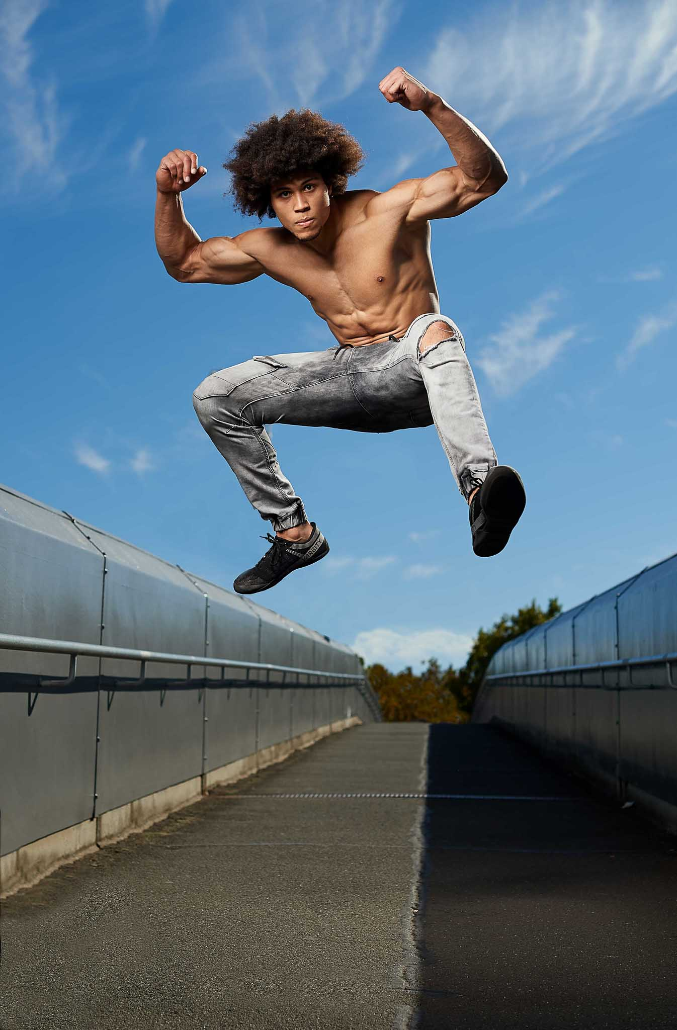 Ossie jumping high on Melbourne Bridge