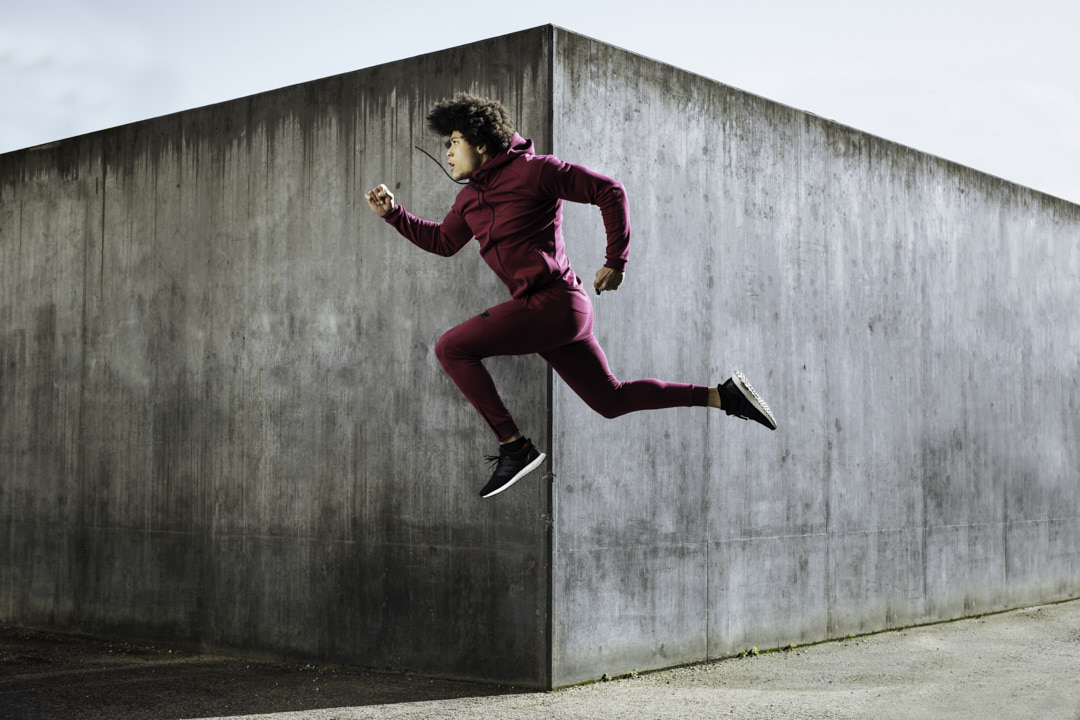 Ossie jumping through the air during the doyoueven campaign