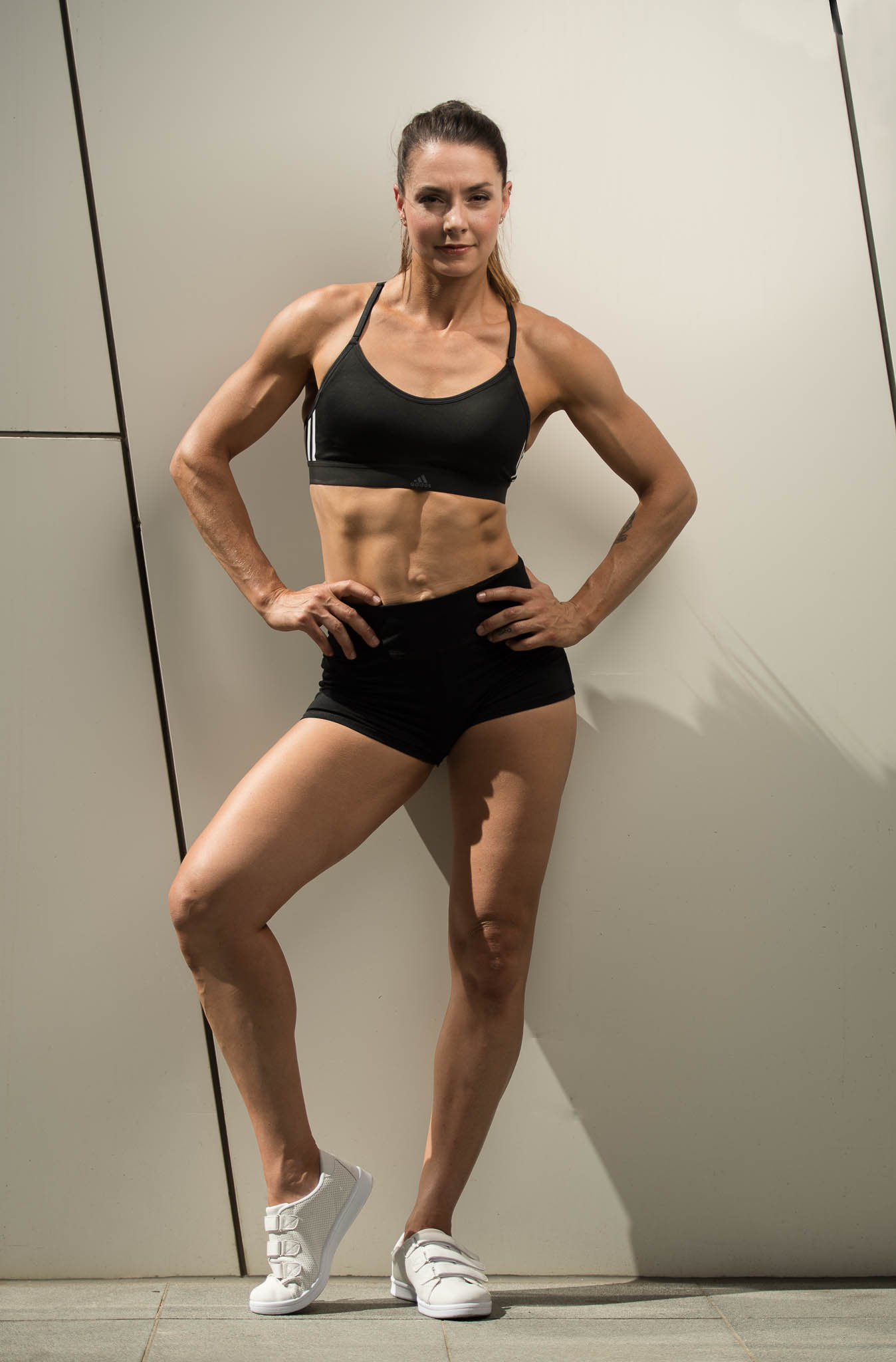 Paula Adelaides female fitness model during her shoot in Melbourne