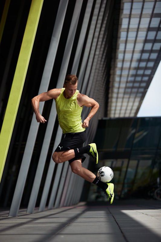 Sam performing complex soccer skills