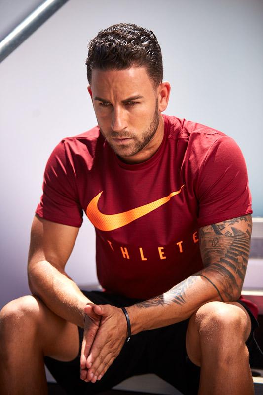 Samuel looking super focused in his Nike athletes top