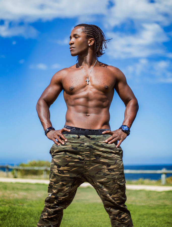 TJ Perth's Afro caribbean fitness model