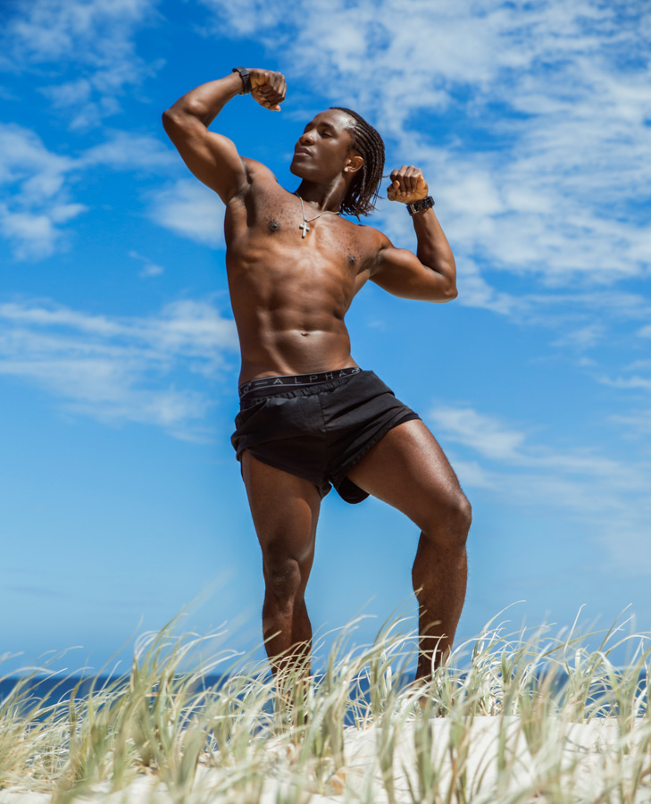 TJ Perth Afro-caribbean model flexing