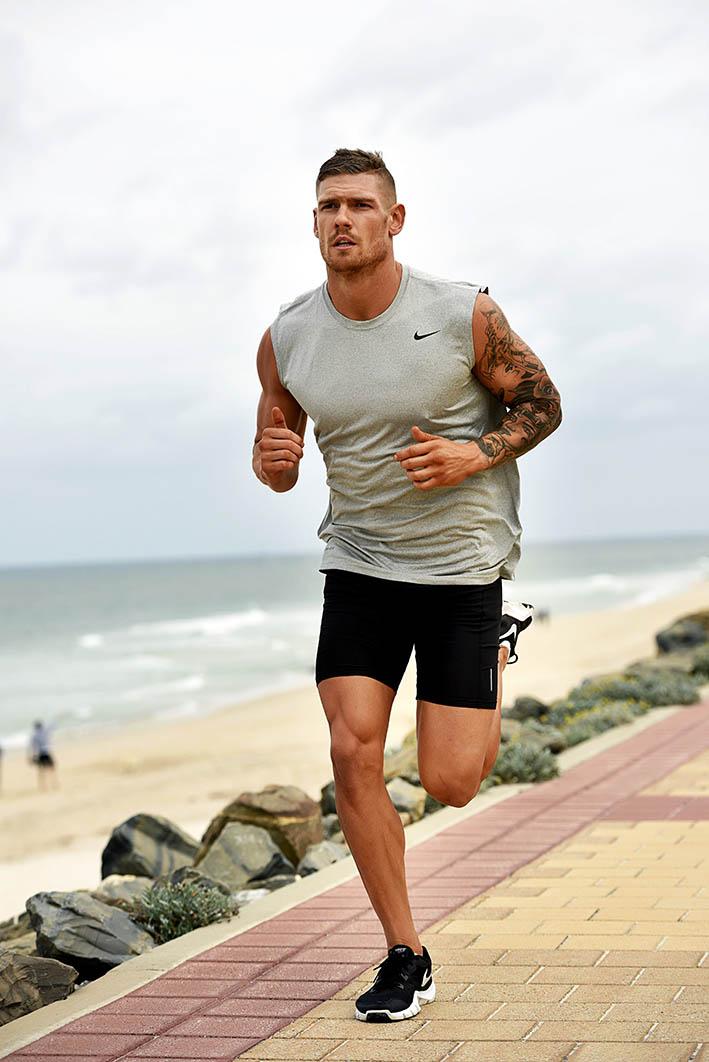 Thomas running along Adelaide walkway