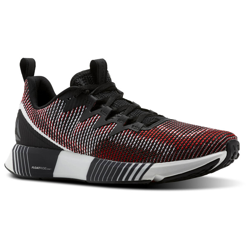 red black and white running shoe