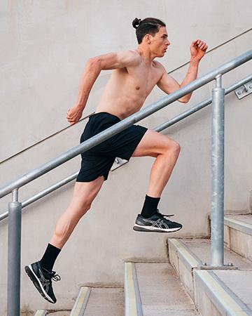 Nicholas running up the stairwell