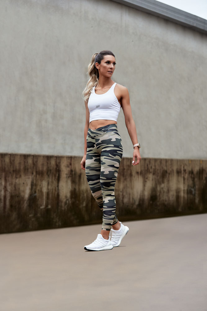 Roula During her fitness for the shoot wearing camouflage pants