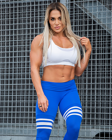 Suzan wearing blue addidas training gear