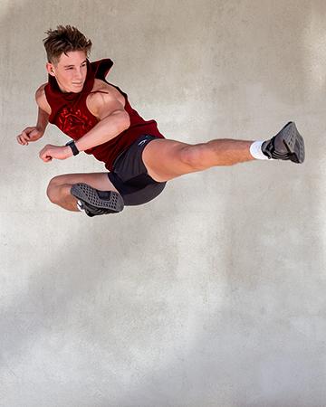 Adelaides new teen sansation doing a flying side kick