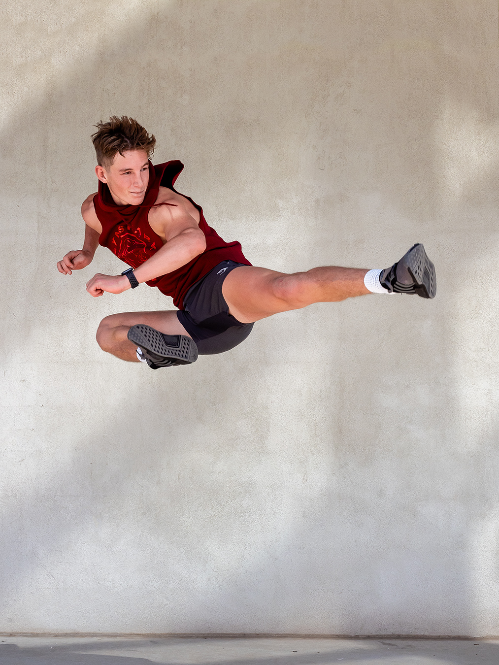 Adelaides young up and coming fitness model Ryan doing a flying side kick