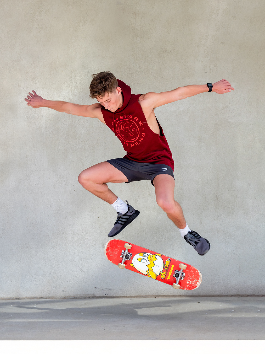 Adelaides young up and coming fitness model Ryan flipping a skate board