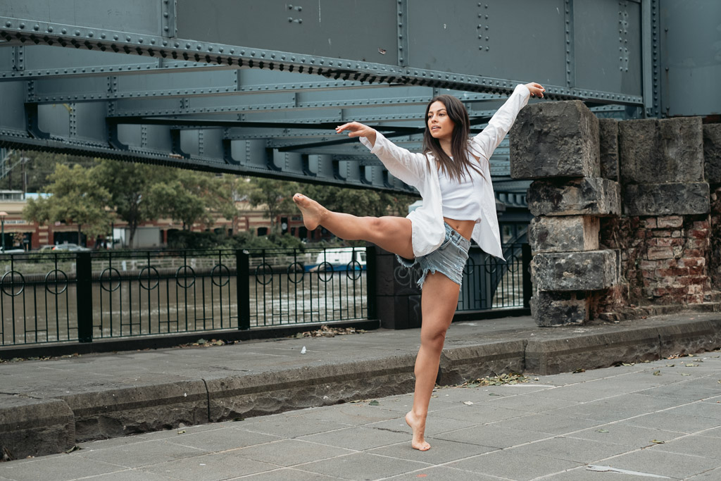 Elly Melbourne young female dancer and fitness model dancing urban style