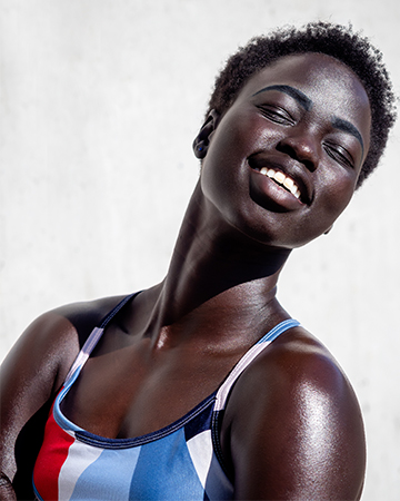 Kim Melbourne is Sudanese model head and shoulders shot