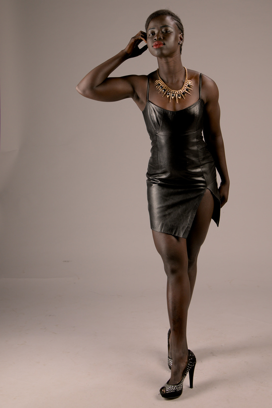 Kimmy melbourne sudannese fitness model in black dress