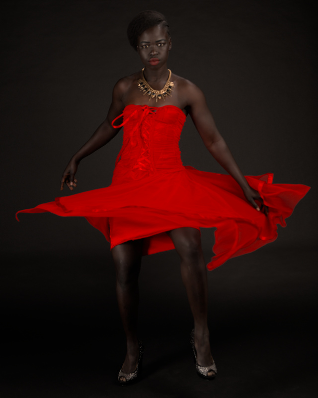 Kimmy melbourne sudannese fitness model in red dress