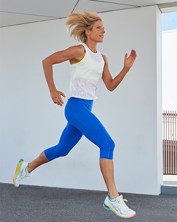 Queenslands mature female fitness model jogging