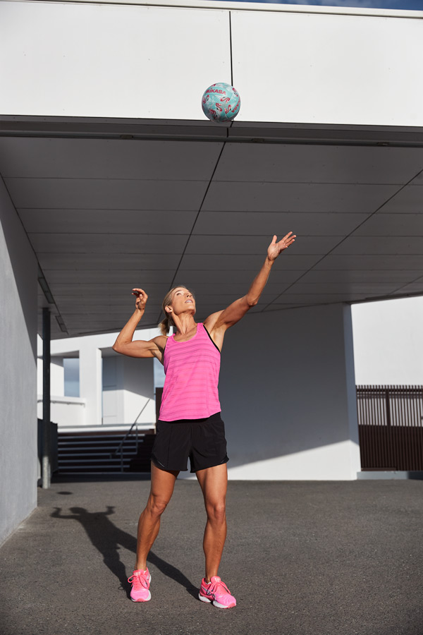 Queenslands mature female fitness model serving a netball